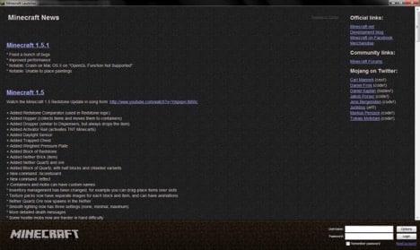 Launcher actuel de Minecraft