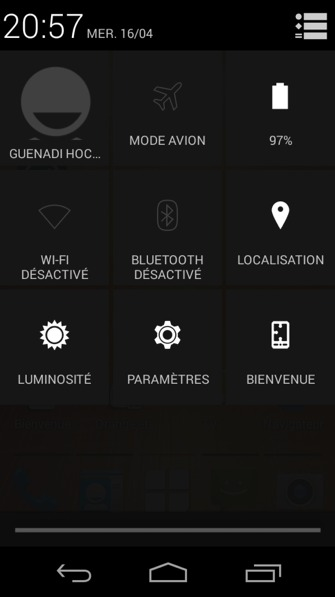 Menu dans la barre de notification