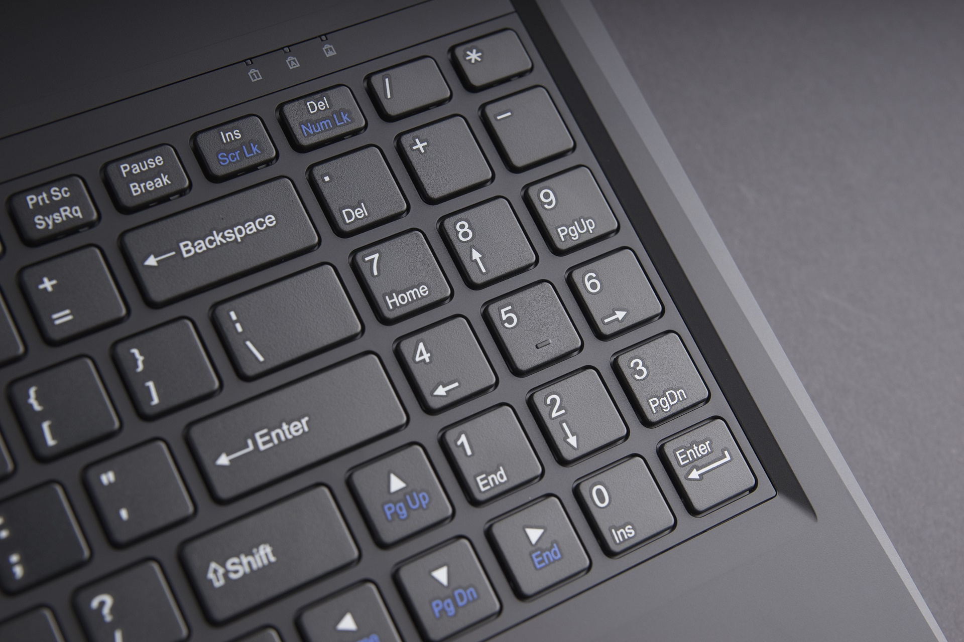 4. Full-range chiclet keyboard with independent numeric pad