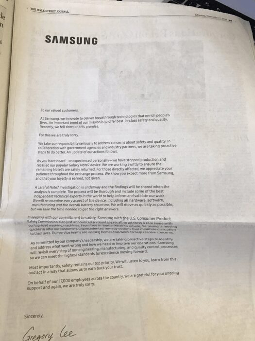 Note 7 Newspapers Apologize