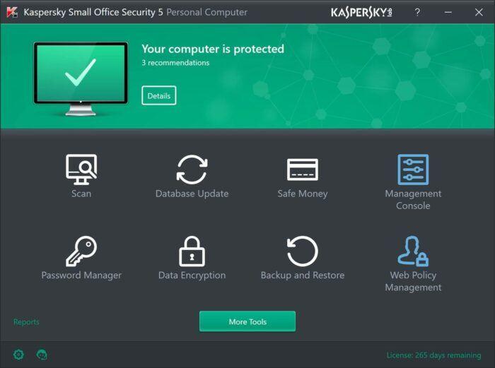 kaspersky interface