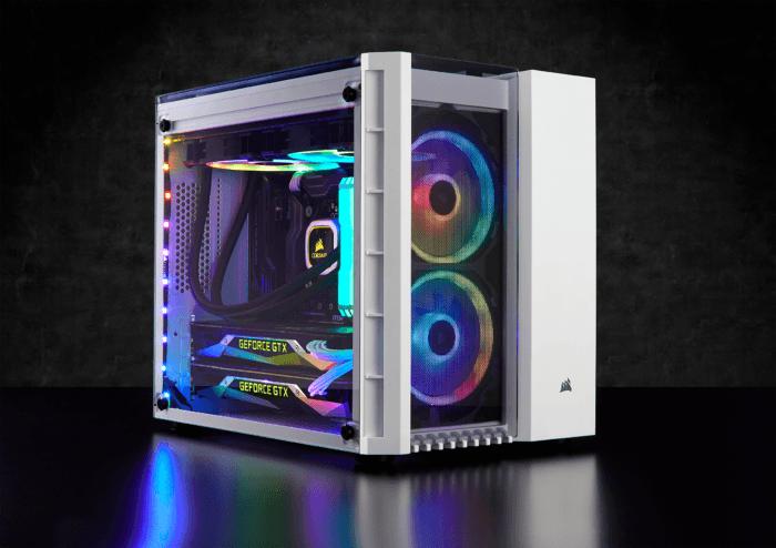 Boîtier Crystal 280X RGB white de profil