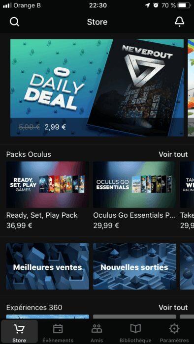 Oculus Go application menu