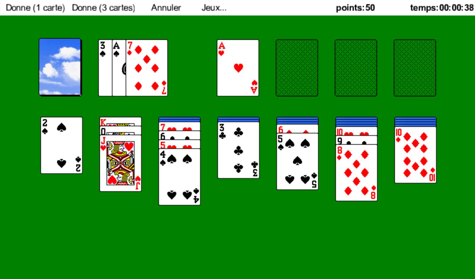 Tableau de jeu - Solitaire Microsoft Windows XP