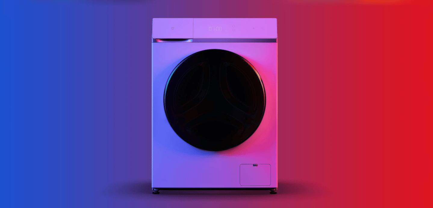Lave-Linge Xiaomi avec fond bleuté-rouge