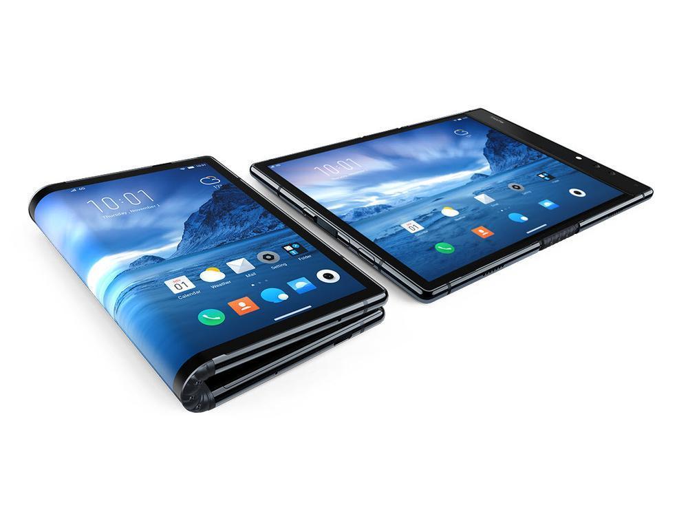 Premier smartphone pliable mondial par Royole sur fond clair