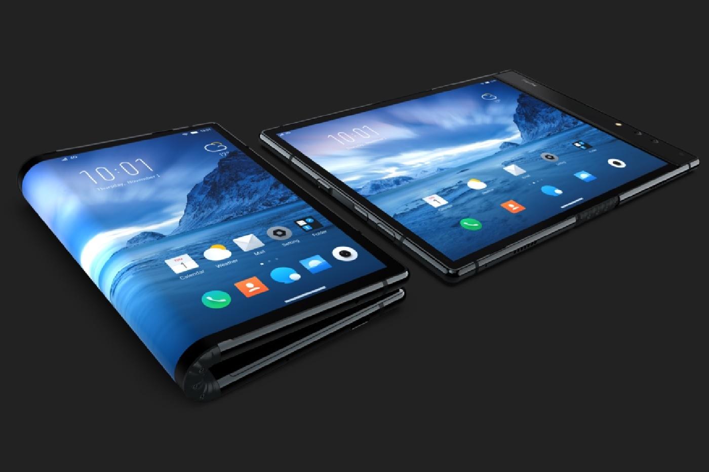 Premier smartphone pliable mondial par Royole sur fond sombre