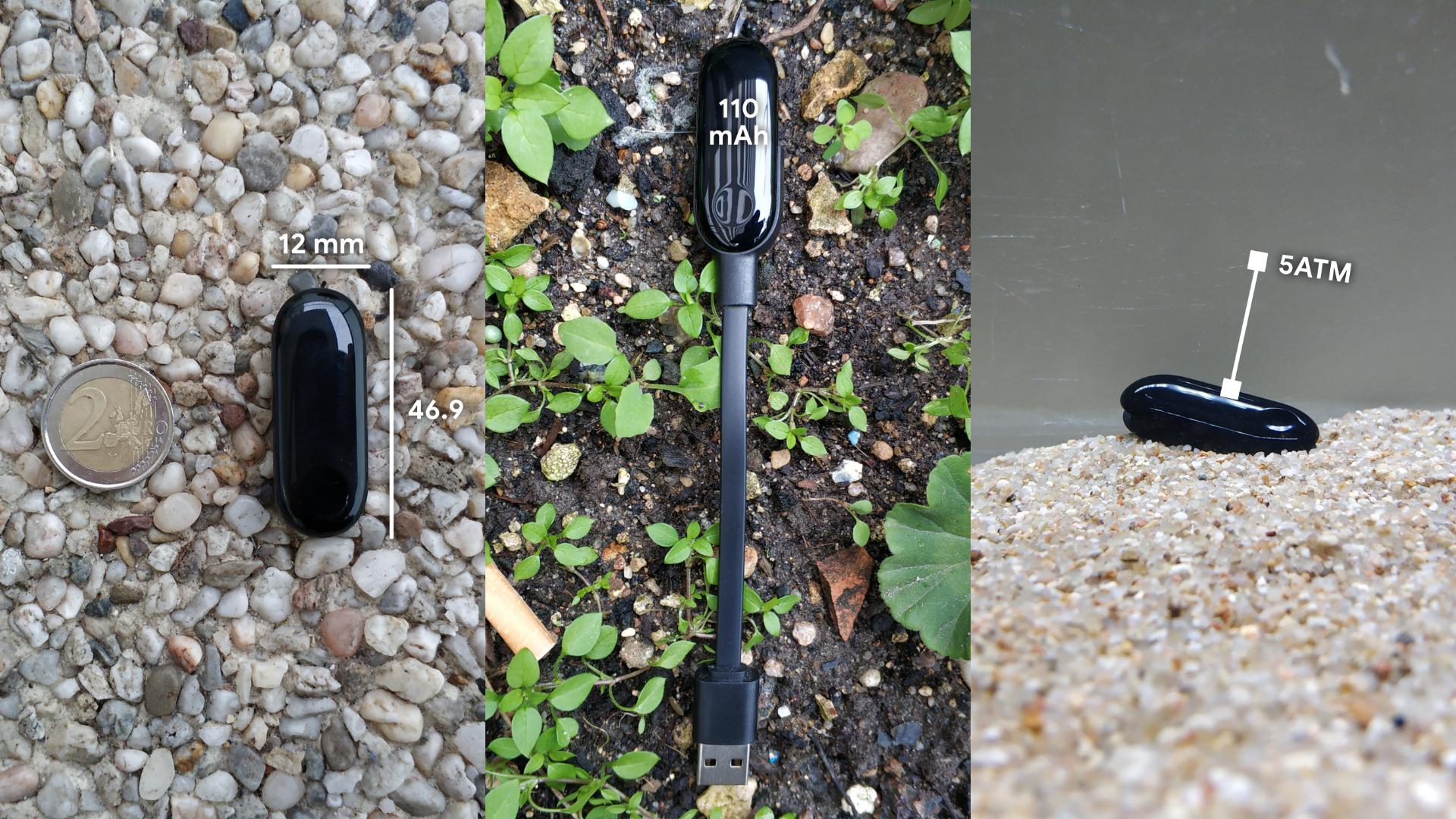 Xiaomi Mi Band 3 avec batterie, taille et 5ATM