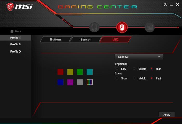 MSI Gaming Center : Couleurs