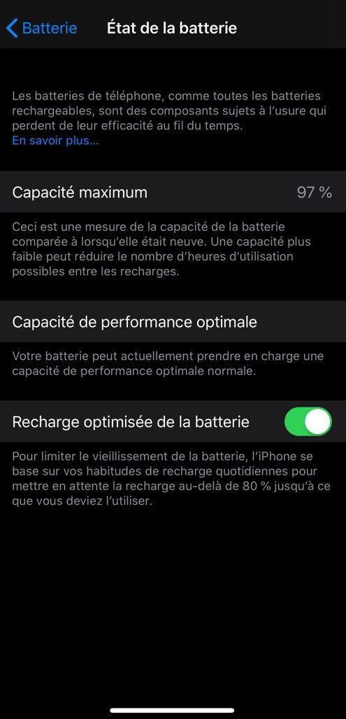 Gestion de la batterie avec iOS 13