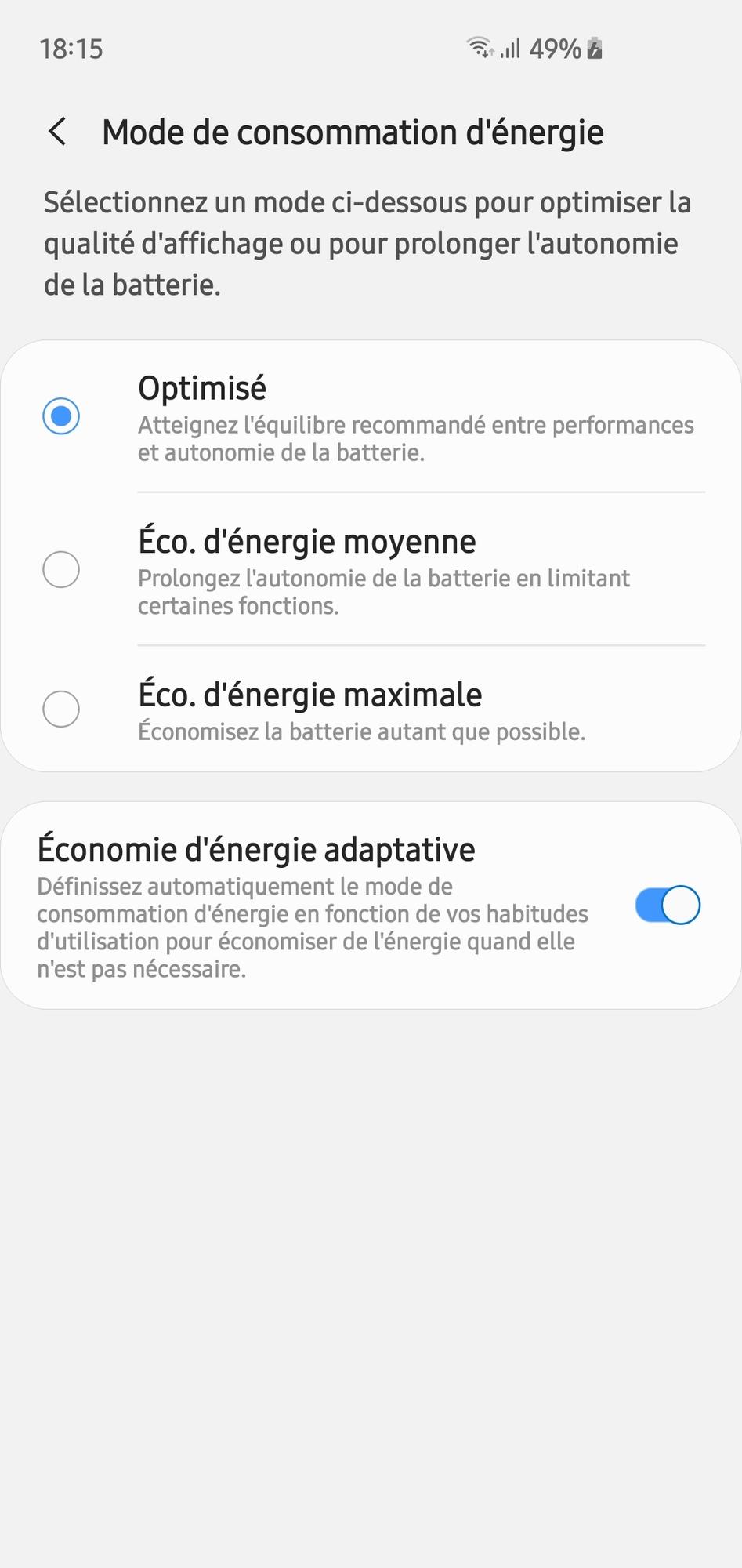 Économie d'énergie du Samsung Galaxy S10e