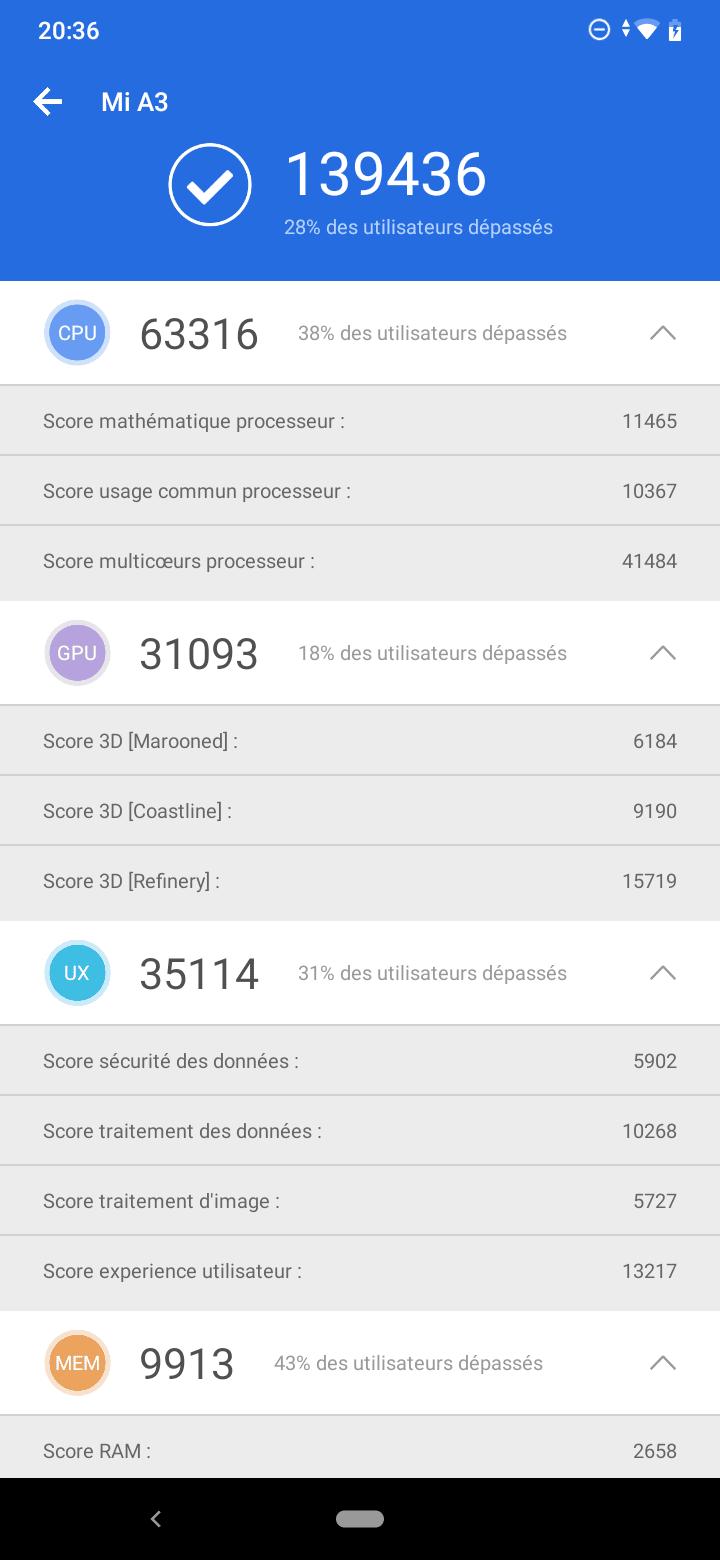 Antutu Xiaomi Mi A3