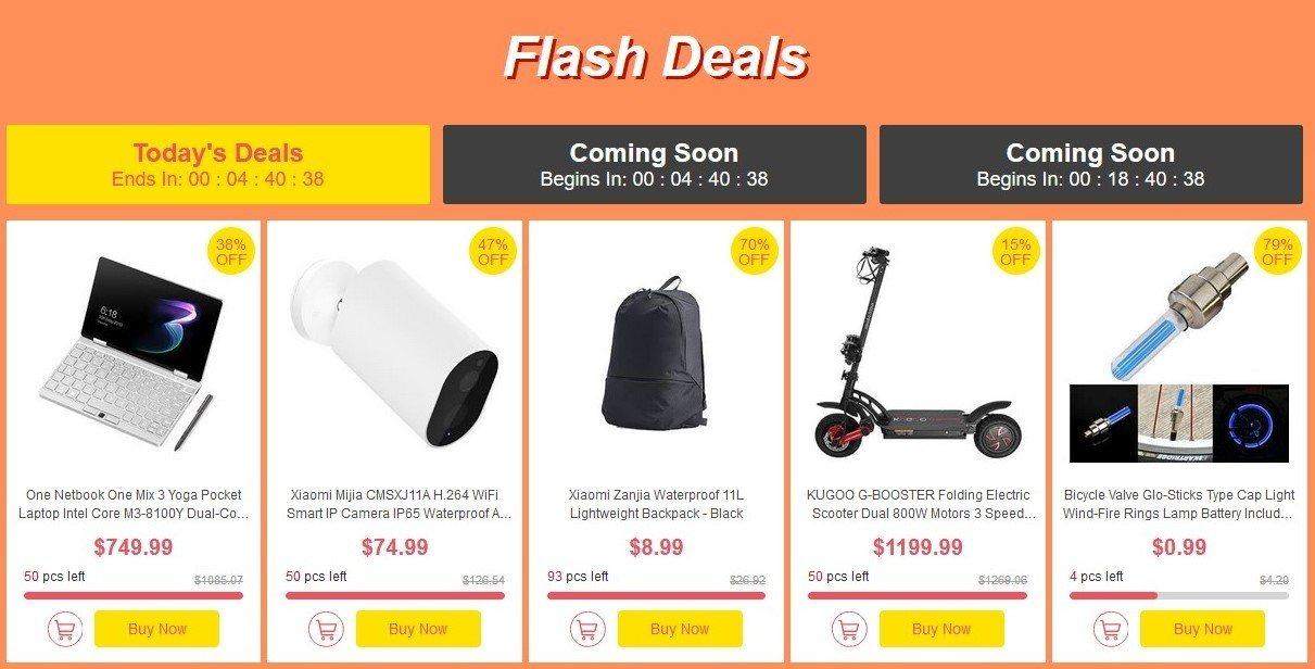 flash deals big sale Geekbuying août code promo réduction temps produits bon plans