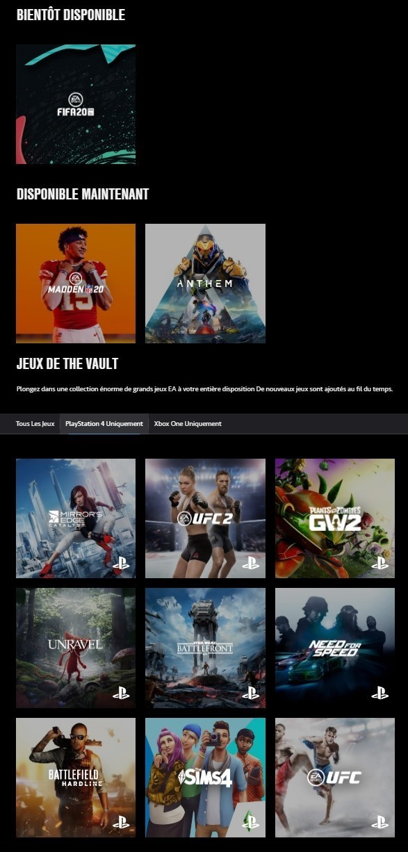 EA Access - Liste de jeu