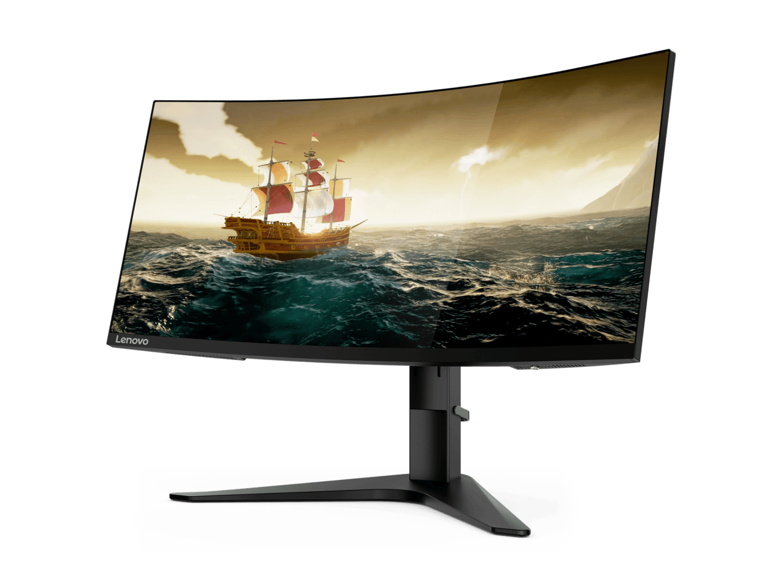 Un taux de rafraîchissement supérieur sur l'écran de jeu Lenovo G34w (144 Hz) permet de réduire le flou cinétique et ainsi d'offrir des mouvements plus naturels aux joueurs. // IFA 2019