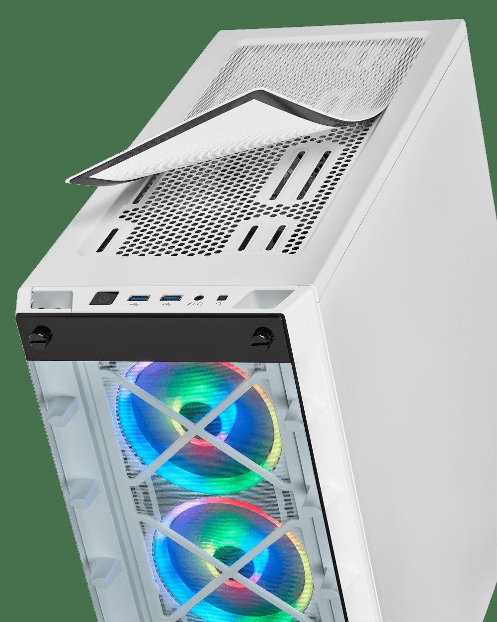 iCUE 465 vue filtre anti posusière, version blanche