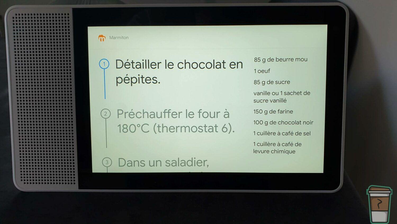 Test Lenovo Smart Display - Exemple de recette