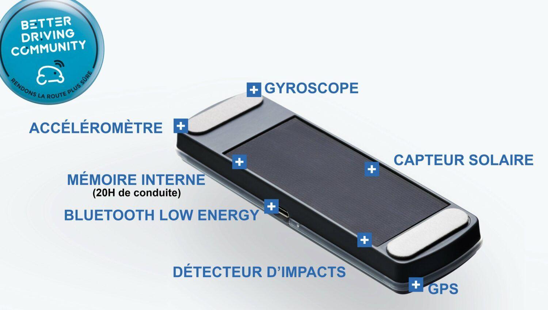 Boitier autonome à coller sur le pare brise de la voiture.Il se connecte au smartphone grâce à l'application.