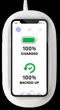 Test Sandisk iXpand Wireless Charger, vue de face avec un iPhone