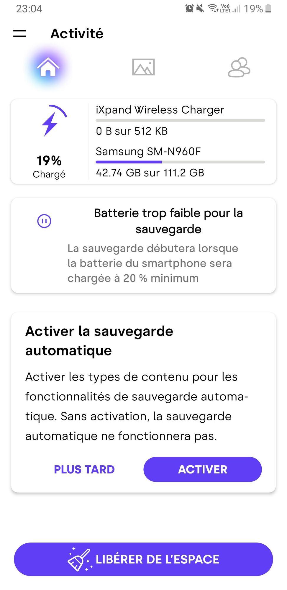 Page d'accueil de l'application Sandisk