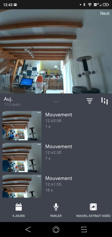 écran de surveillance dans l'app Nest. comprenant les différente alertes reçues par les capteurs.