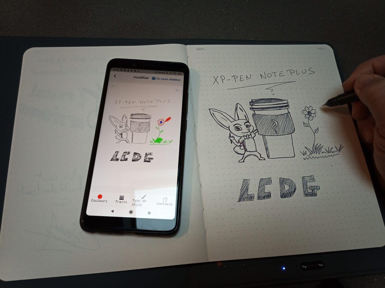 l'application XP-PEN note plus permet de créer des dessin en utilisant une palette basique de couleurs.