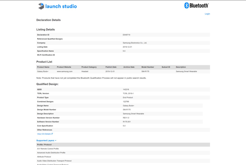 Samsung Galaxy Buds+ Bluetooth SIG