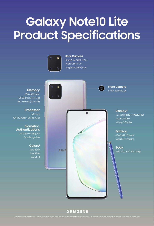 Samsung Galaxy Note 10 Lite Caractéristiques Techniques CES 2020