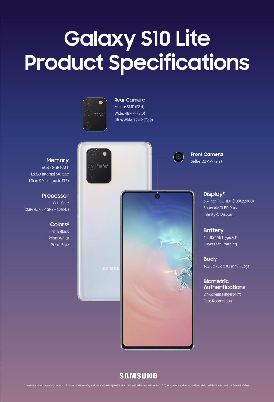 Samsung Galaxy S10 Lite Caractéristiques Techniques CES 2020