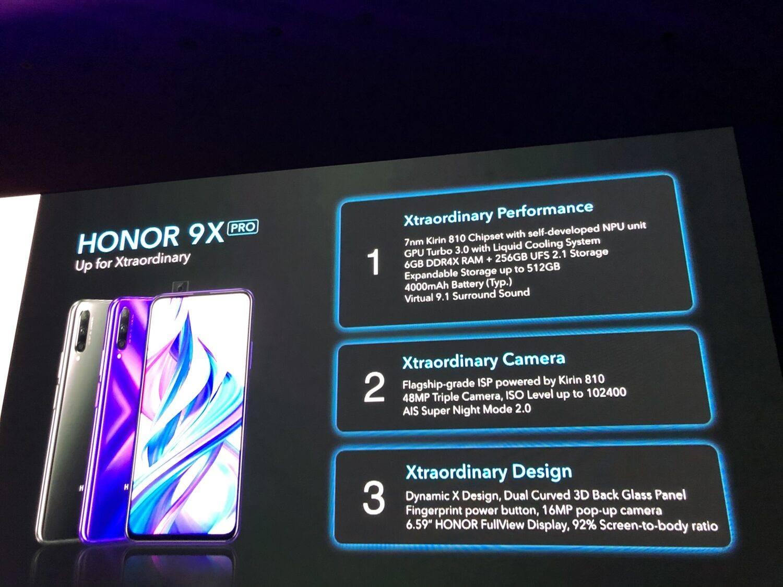 Caractéristiques Honor 9X Pro