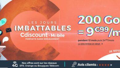 Photo of Bons plans – Cdiscount lance un forfait 200Go à 9€ !