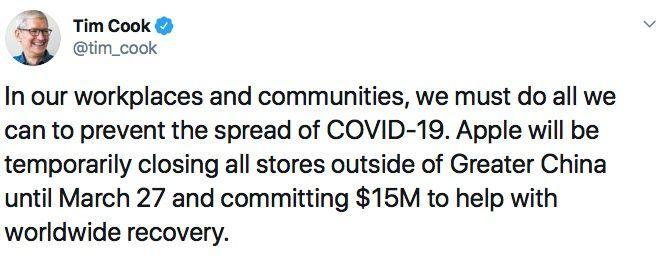 Annonce des fermetures des Apple Store