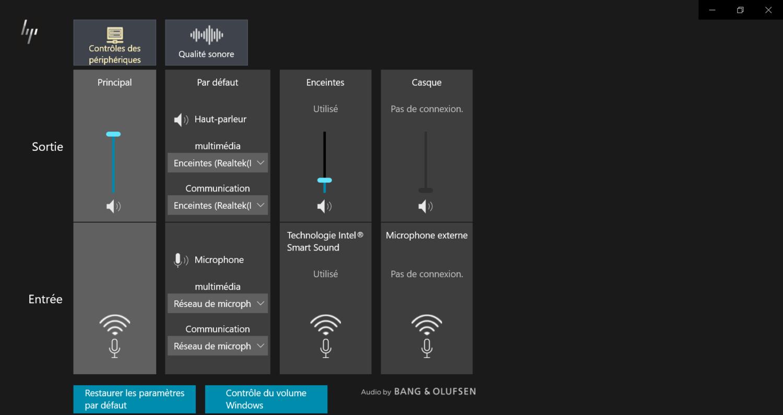 HP Elite Dragonfly  - logiciel Bang & Olufsen