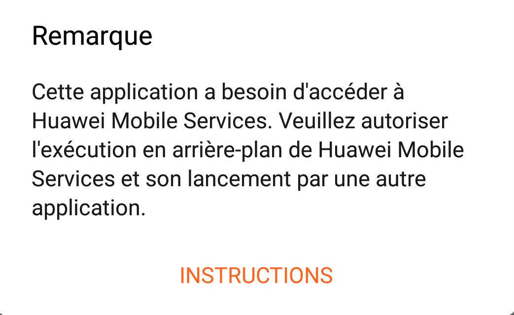 Problème Huawei Health