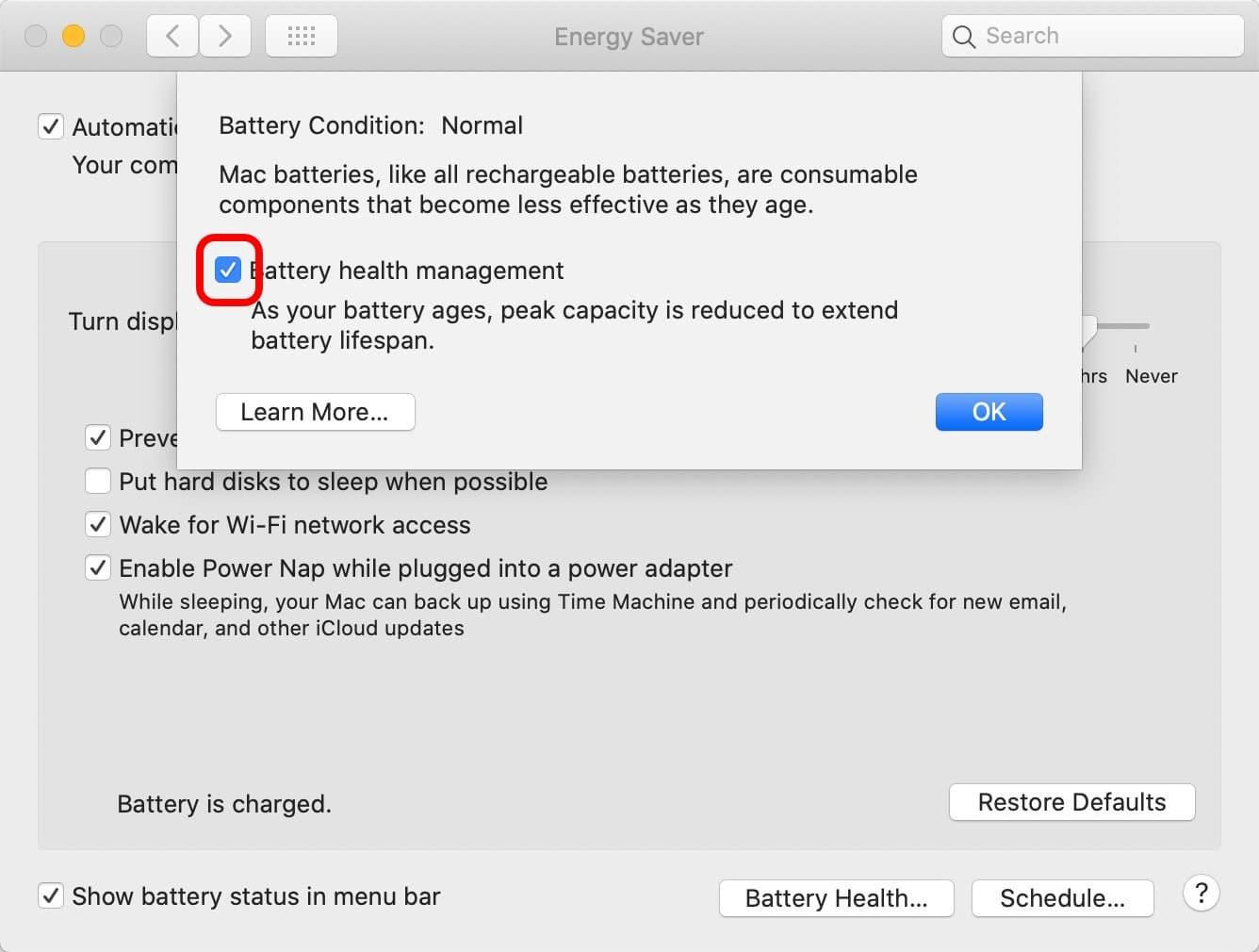 Battery Health Management macOS 10.15.5 Macbook Batterie Désactiver