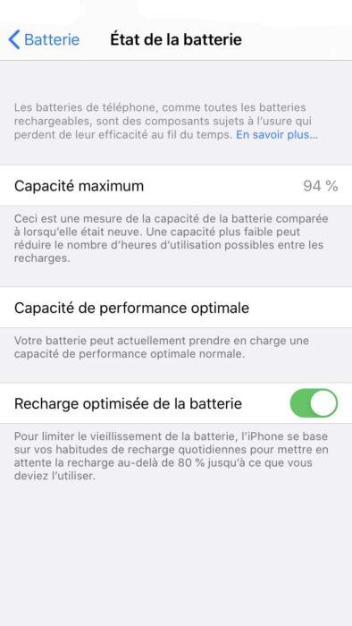 Recharge optimisée batterie iOS 13 macOS 10.5.5 MacBook