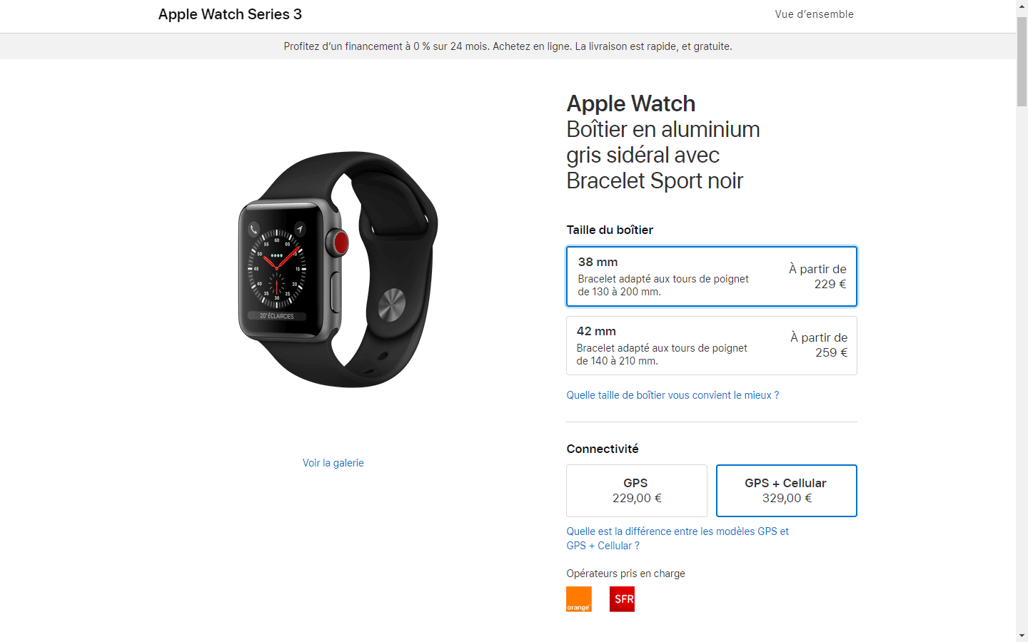 Site Apple Watch Series 3 Cellulaire