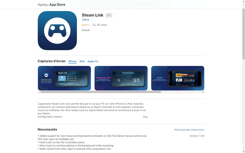 Steam Link App Store clavier et souris