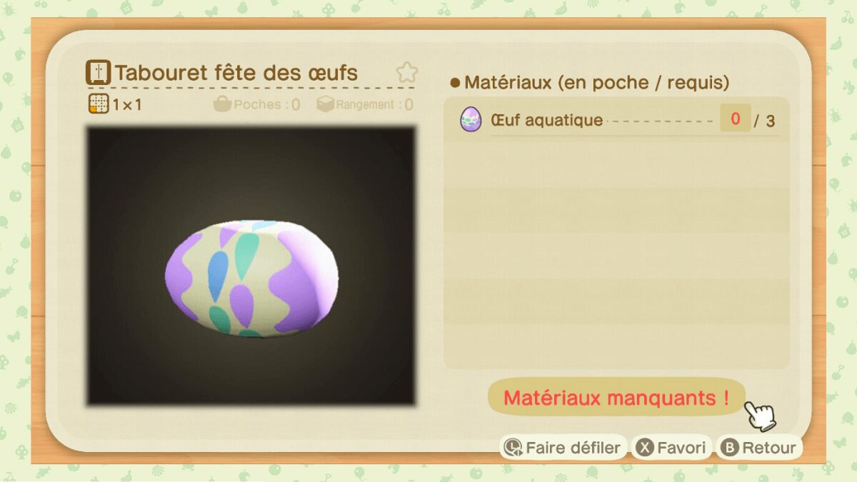 Tabouret fete des œufs animal crossing new horizons