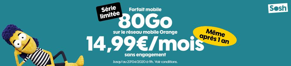 sosh forfait mobile 80 go serie limitee