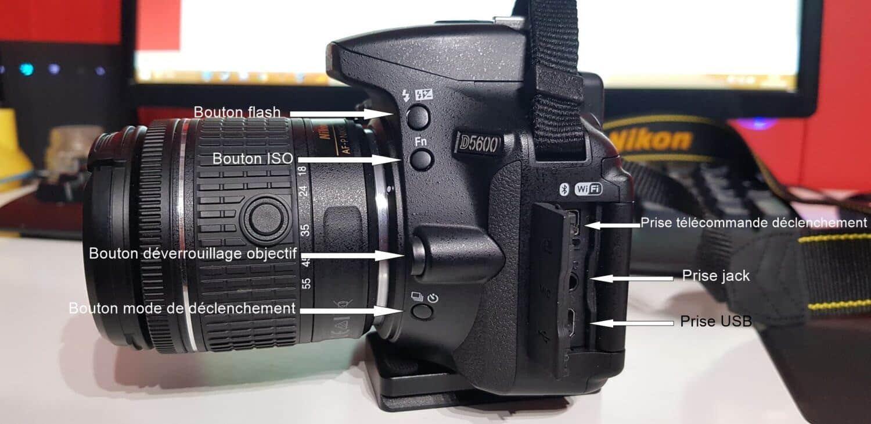Nikon D5600 - Côté gauche