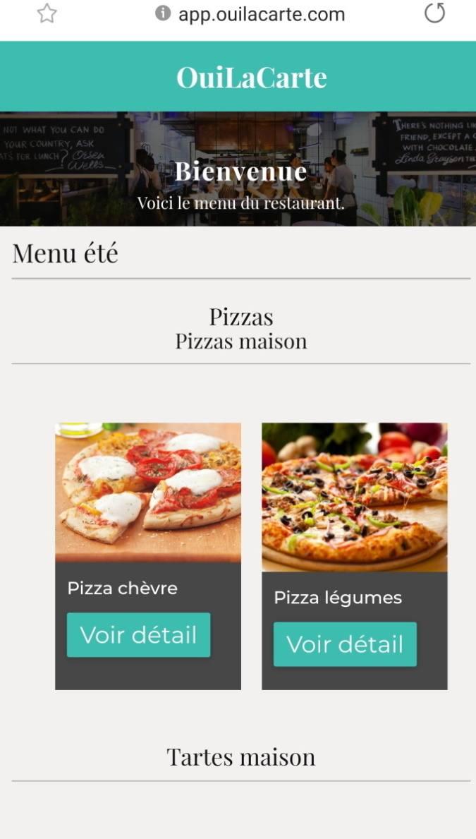 OuiLaCarte choix des menus