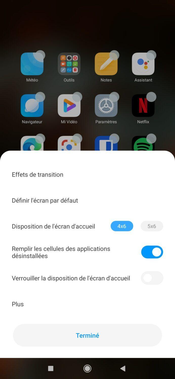 Réglages écran d'accueil Xiaomi Mi 10
