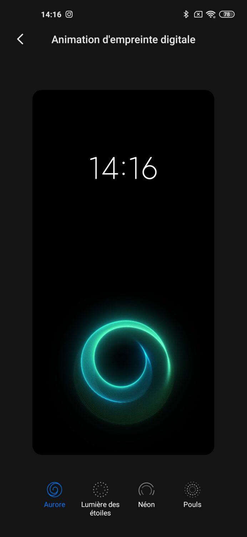 Réglages capteur d'empreintes Xiaomi Mi 10