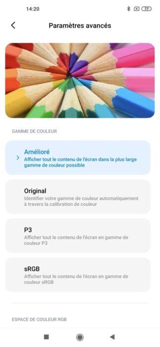 Réglages couleurs écran Xiaomi Mi 10