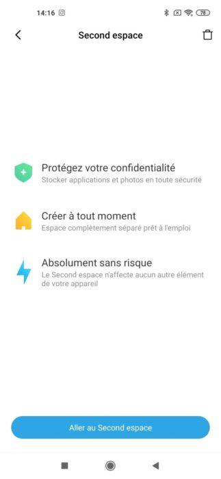 Second espace MIUI 11 Xiaomi Mi 10
