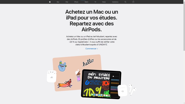 Apple Back to School 2020 Airpods Offert avec achat Mac ou iPad