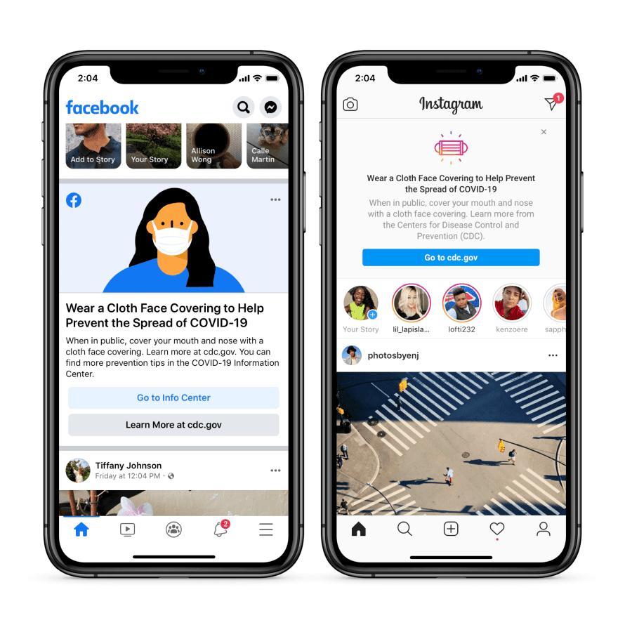 Facebook et Instagram porter masque