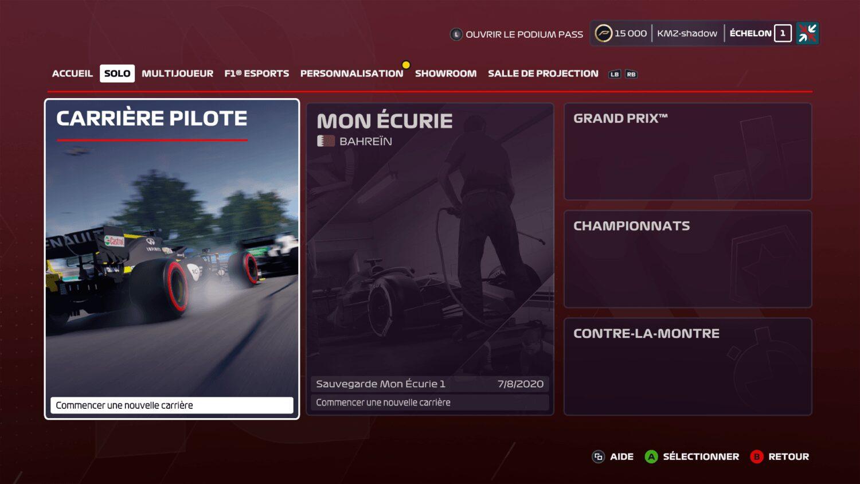 F1 2020 Mode de jeux