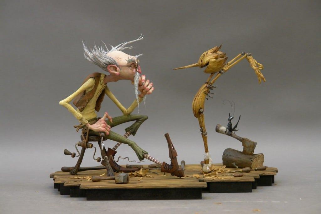 Pinocchio et Gepetto dans le Pinocchio de Guillermo del Toro (2021)